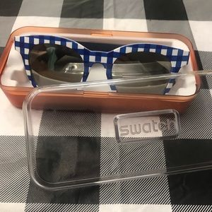 Swatch sunglasses blue gingham, checkered